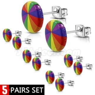 /5-par set/Örhänge Rainbow Rostfritt Stål