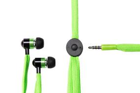 Grön handsfree in-ear hörlur med skosnöresladd