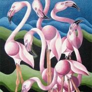 "NR 38 E 50 ""Flamingosextetten"", Strl 60x70cm Pris: 7.900:- Såld"