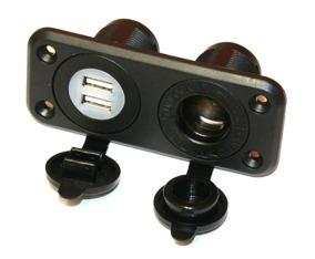 Uttagspanel 2 x USB + 1 x 12/24 V Uttag