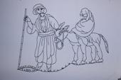 Josef o.Maria flyr med Jesus till Egypten.B1300xH900.