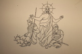 Jesus  lämnar gravplatsen                              B1200xH1030.