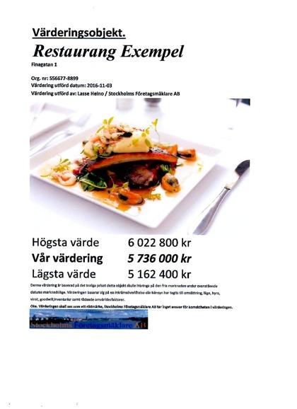 Stockholms Företagsmäklare - Värdering restaurang Mall