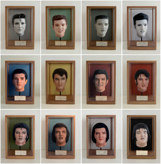 """The Evolution Of E.A.P.""  12 piece sculpture series, mixed media. Dimensions (each piace, including glass box) H:23,5cm W:15,5cm D:15,5cm  © Jonas Brandin 2017"
