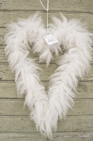 Fårskinnshjärta stort - vildhjärta - vitt