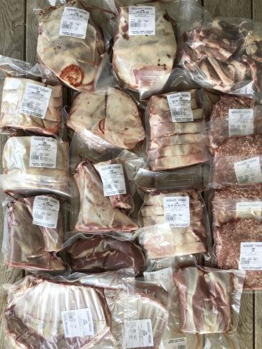 Hel lammlåda med finstyckat, vakuumförpackat och uppmärkt kött. Ungefär såhär kan det se ut.