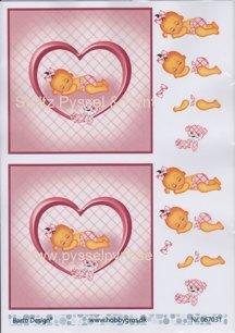 Barto design 3D Klippark - Babyflicka i hjärta - Barto design 3D Klippark - Babyflicka i hjärta
