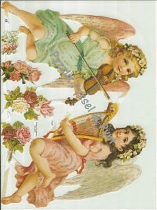 Bokmärke Två spelande änglar - Bokmärke Två spelande änglar