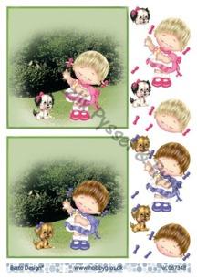 Barto design 3D klippark - Flicka m hund - Barto design klippark, Flicka m hund