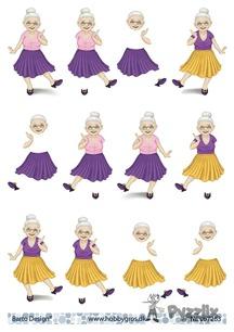 Barto Design 3D klippark - Äldre dam dansar - Barto Design 3D klippark - Äldre dam dansar