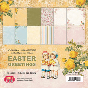 Craft & You Pappersblock 6x6, Easter Greetings - Craft & You Pappersblock Easter Greetings