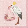 Servett Stork med babykorg rosa