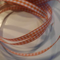 Bomullsband rutigt orange 6 mm