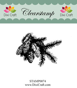 Dixi Craft - Clearstamp - Grankvist med kottar - Dixi Craft - Clearstamp - Grankvist med kottar