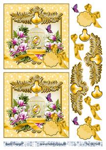 Barto Design 3D Klippark - Fågel i bur, gul - Barto Design 3D Klippark - Fågel i bur, gul