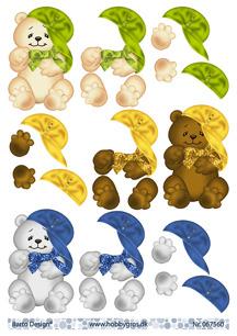 Barto Design 3D Klippark - Nalle i keps - Barto Design 3D Klippark - Nalle i keps