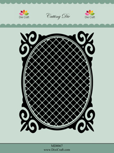 Dixi Craft Dies – Owal frame with grid - Dixi Craft Dies – Owal frame with grid