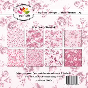 Dixi Craft Pappersblock - Retro Flowers/Light Pink - Dixi Craft Pappersblock - Retro Flowers/Light Pink