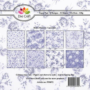 Dixi Craft Pappersblock - Retro Flowers/Lavender - Dixi Craft Pappersblock - Retro Flowers/Lavender