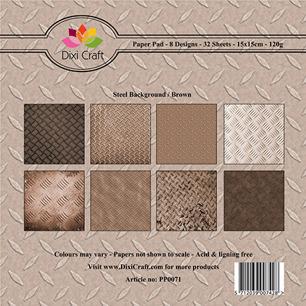 Dixi Craft Pappersblock - Steel Background/Brown - Dixi Craft Pappersblock - Steel Background/Brown
