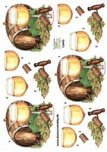 Dan design 3D Klippark - Vittvinsglas, tunna o druvor - Dan design 3D Klippark - Vittvinsglas, tunna o druvor