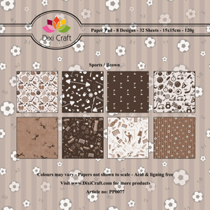 Dixi Craft Pappersblock - Sports/Brown - Dixi Craft Pappersblock - Sports/Brown