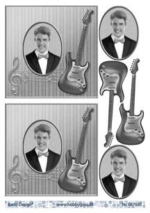 Barto Design 3D Klippark - Kille m gitarr, svart/vitt - Barto Design 3D Klippark - Kille m gitarr, svart/vitt