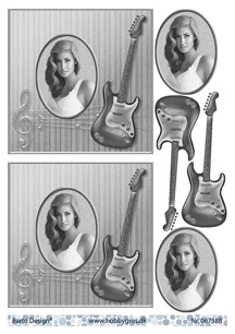 Barto Design 3D Klippark - Tjej m gitarr, svart/vitt - Barto Design 3D Klippark - Tjej m gitarr, svart/vitt