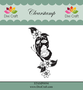 Dixi Craft - Clearstamp Butterfly & Flowers - Dixi Craft - Clearstamp Butterfly & Flowers