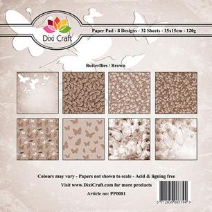 Dixi Craft Pappersblock - Butterflies/Brown - Dixi Craft Pappersblock - Butterflies/Brown