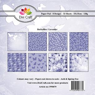 Dixi Craft Pappersblock - Butterflies/Lavender - Dixi Craft Pappersblock - Butterflies/Lavender