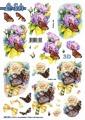 Le Suh 3D Utstansat - Fjäril i blombukett