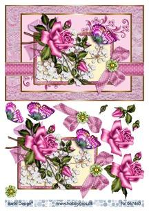Barto Design 3D Klippark - Blommotiv, rosa - Barto Design 3D Klippark - Blommotiv, rosa