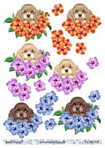 Barto Design 3D Klippark - Hund i blomkrans - Barto Design 3D Klippark - Hund i blomkrans