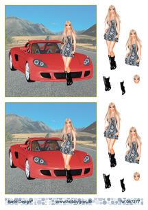 Barto Design 3D Klippark - Tjej vid Ferrari - Barto Design 3D Klippark - Tjej vid Ferrari