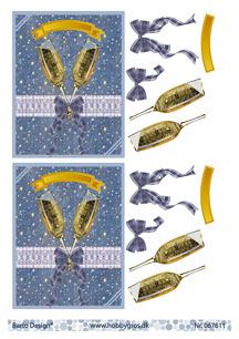 Barto Design 3D Klippark - Champangeglas m rosett - Barto Design 3D Klippark - Champangeglas m rosett