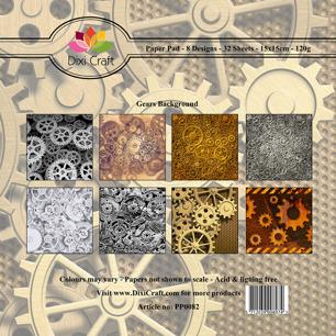 Dixi Craft Pappersblock - Gear Background - Dixi Craft Pappersblock - Gear Background