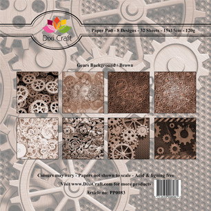 Dixi Craft Pappersblock - Gears Background/Brown - Dixi Craft Pappersblock - Gears Background/Brown