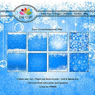 Dixi Craft Pappersblock - Snow Crystal Background - Blue - Dixi Craft Pappersblock - Snow Crystal Background - Blue
