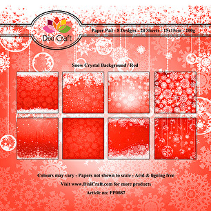Dixi Craft Pappersblock - Snow Crystal Background - Red - Dixi Craft Pappersblock - Snow Crystal Background - Red