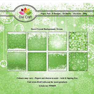 Dixi Craft Pappersblock - Snow Crystal Background - Green - Dixi Craft Pappersblock - Snow Crystal Background - Green