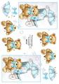 Dan-Quick 3D Klippark - Nalle m blå rosett