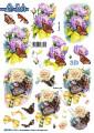 Le Suh 3D Utstansat - Fjäril bland blommor
