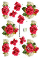Dan design 3D Klippark - Röda & cremefärgade blommor