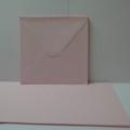 Kort & kuvert - kortstrl. 15x15 cm, kuvertstrl. 16x16 cm, Rosa pastellfärg, 10 set