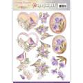 Jeaninés Art 3D Utstansat - Vintage Flowers - Pale Violet
