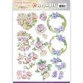 Jeaninés Art 3D Utstansat - Vintage Flowers - Romontic Purple