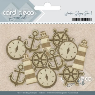 Card deco - Wooden Shapes - Beach - Card deco - Wooden Shapes - Beach