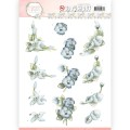 Precious Marieke 3D Utstansat - Flower in Pastels - True Blue