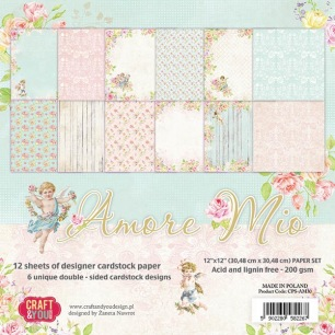 Craft & You - Dubbelsidigt papper - Amore Mio, 30x30 - Craft & You - Dubbelsidigt papper - Amore Mio, 30x30